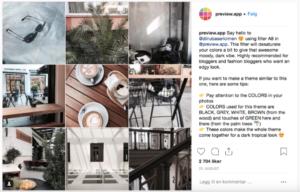 Kolage av bilder fra Instagram med kommentarfelt på høyre side